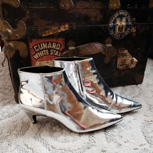 Zara Patent Leather Silver Booties 39/9